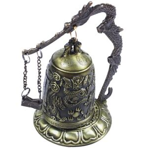 Brass-Bell-Carved-Dragon-Buddhist-Buddha-039-s-Clock-Bronze-Good-Luck-Bell-X1W2