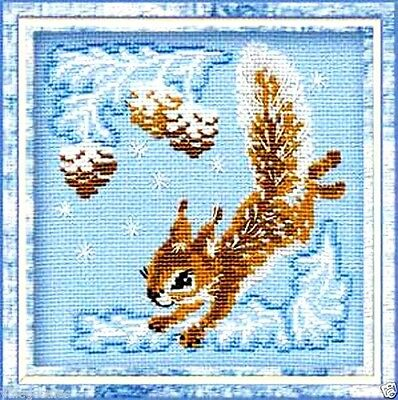 "Riolis Counted Cross Stitch kit 6"" x 6"" ~ SMALL SQUIRREL #799 Sale"
