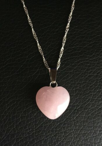 Natural Pink Rose Quartz Heart Necklace Pendant Energy /& Healing with Gift Bag