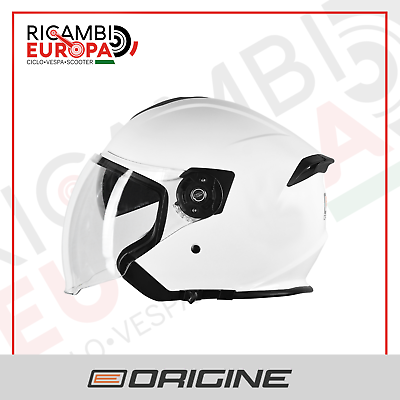 CASCO JET ORIGINE 2.0 SOLID HELMET PALIO DOPPIA VISIERA MOTO SCOOTER BIANCO