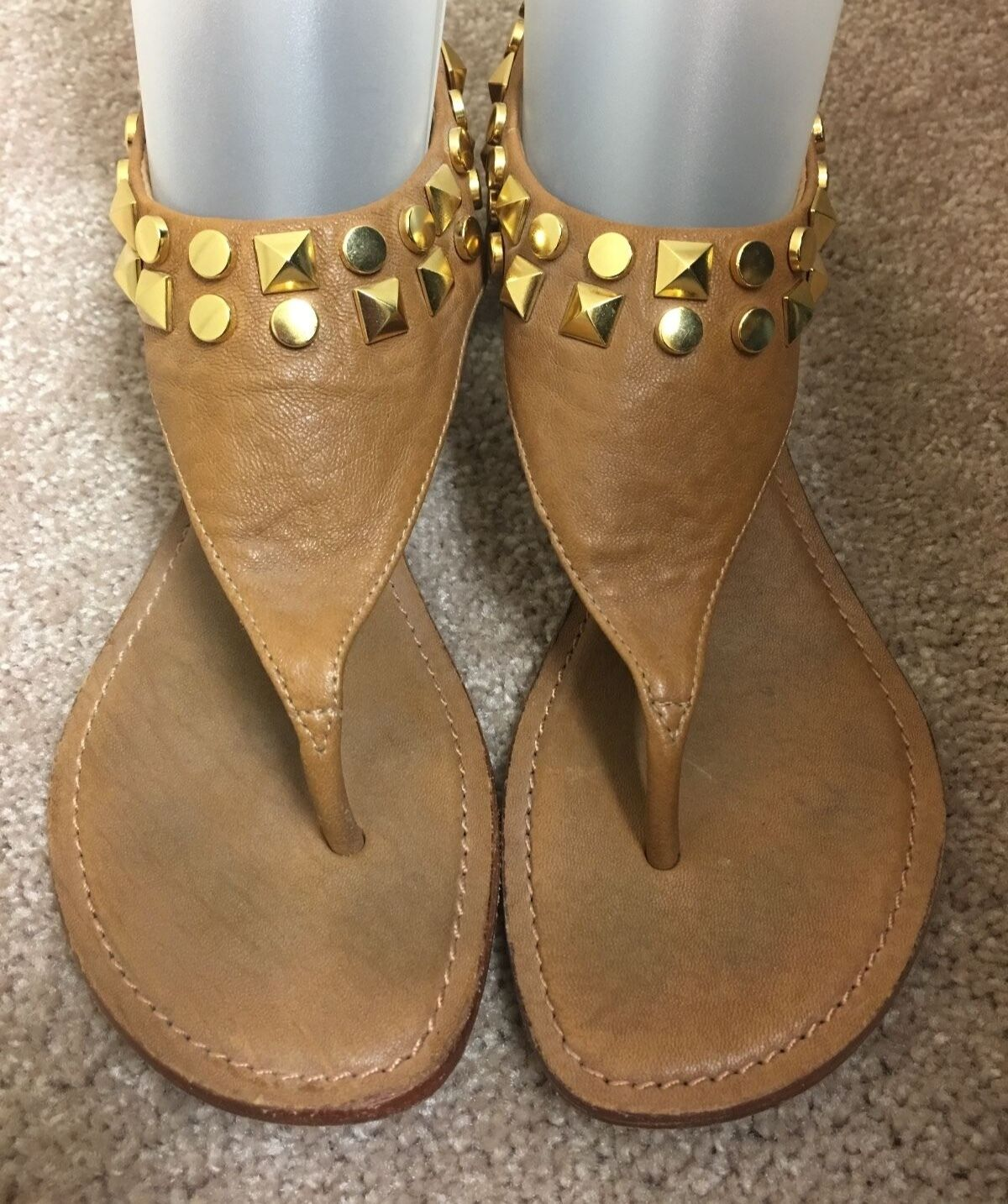 Tory Burch Studded Leather Sandal Royal Tan Size 6 1 2 M-Great Condition