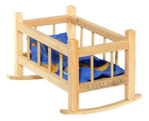 Babypuppen & Zubehör Puppenwiege Puppenwippe Puppenmöbel Holz mit Bettwäsche Puppenbett 43cm NEU