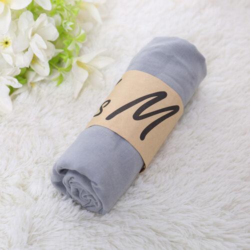 180*85cm Women Solid Color Cotton Linen Long Scarf Soft Warm Hijab Scarves Shawl