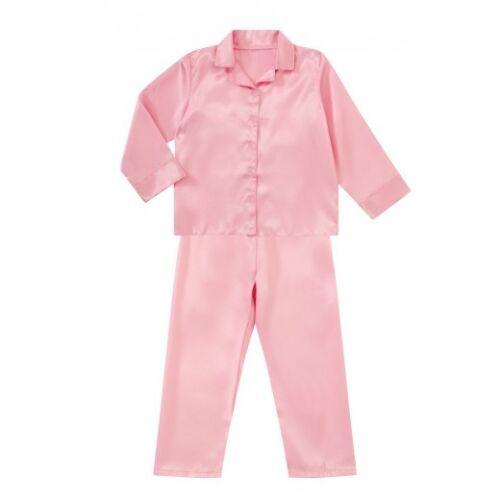 Kids Satin Long Sleeve Pyjamas pj/'s Nightwear Children Sleep Girls 2-13 Boys