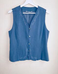 Azul-vintage-Laura-Ashley-decada-de-1980-Blusa-Top-Chaleco-de-boton-frontal-bordado-12-14