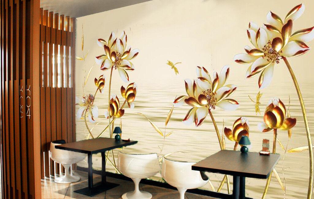 3D golden Lotu 515 Wallpaper Murals Wall Print Wallpaper Mural AJ WALL UK Summer