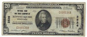 $20 1929 Kennett Square Pennsylvania PA National Currency Bank Note Bill #2526