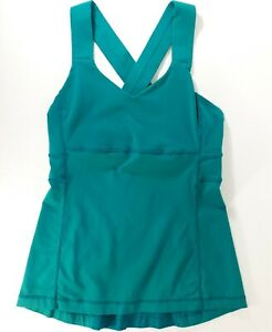 LULULEMON-PUSH-UR-LIMITS-TANK-TOP-Teal-Green-SIZE-4-CROSSBACK-Yoga-Gym-Running