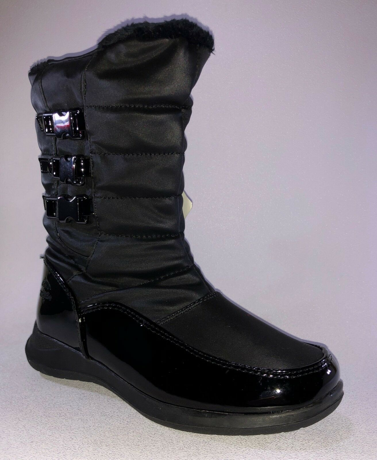 Totes BONNIE Womens Black WIDE WIDTH Waterproof Nylon Boots