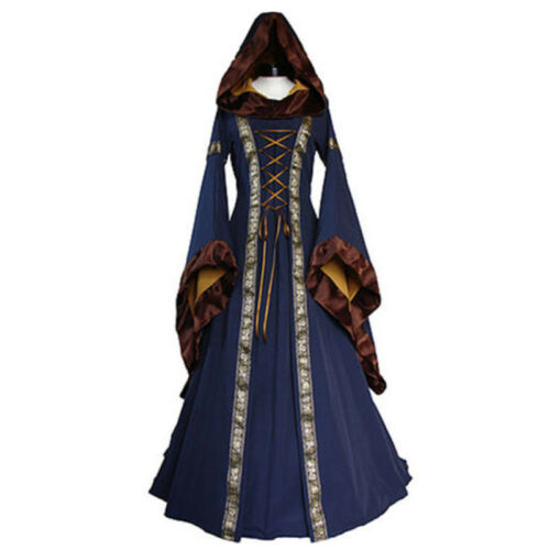 zhou8 Blue Green Medieval Renaissance Cosplay Wench LARP Dress Costume Gown