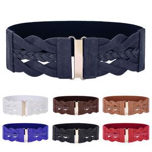 0a0249f83ff48 Women High New Pu Leather Buckle Cinch Girls Vintage Elastic Belt ...