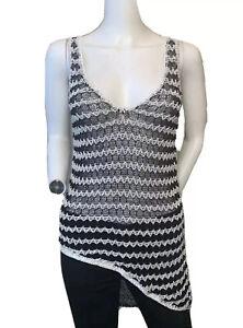 Helmut Lang Size Small Black White Asymmetrical Open Knit Tank Top NWT $295