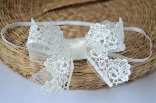 Tulle baby bow headband hair band for christening baptism wedding off white lace
