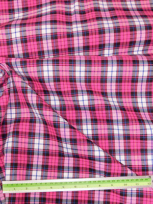 "Hot Pink White PLAID TARTAN THICK COTTON 45""W FABRIC KILT SKIRT DRAPE SHORTS"