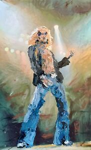 ORIGINAL Abstract Led Zepplin Robert Plant Palette Knife Rock Music Art Painting