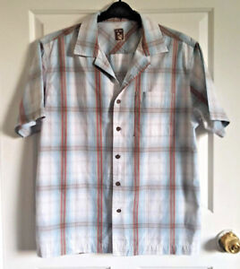 Mens-FAT-FACE-Shirt-Size-Large-42-034-Chest-Check-Blue-amp-White-with-Short-Sleeves