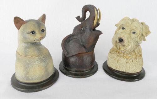 Deckeldose 3er Set Hund Katze Elefant Figur Schmuckdose Büste Dose NY1-3-xb
