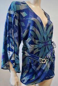 in Uk12 cintura caftano Firenze Blue Top Camicia Wrap con Green Pucci Emilio 100 seta Oanwv8x