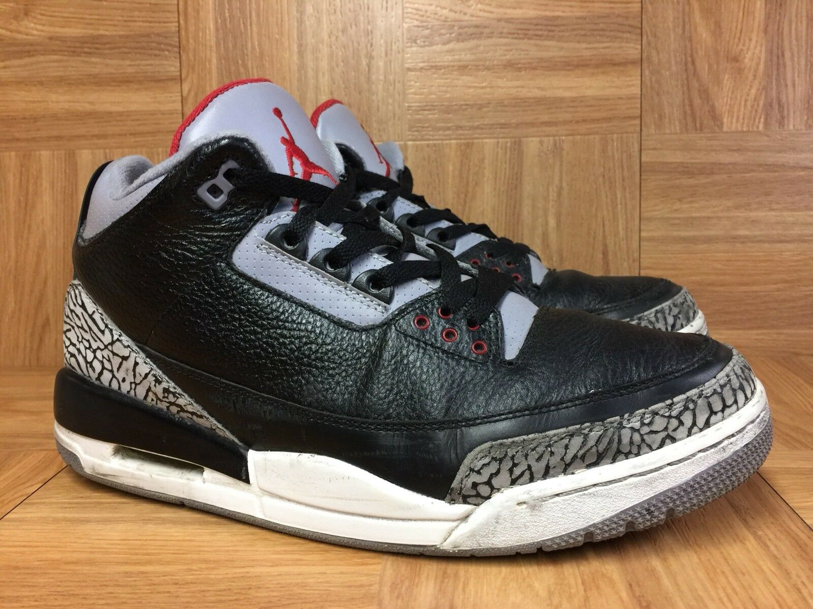RARENike Air Jordan 3 III Retro Black Varsity 136064-010 Red Cement Gray 10.5 136064-010 Varsity 4f3820