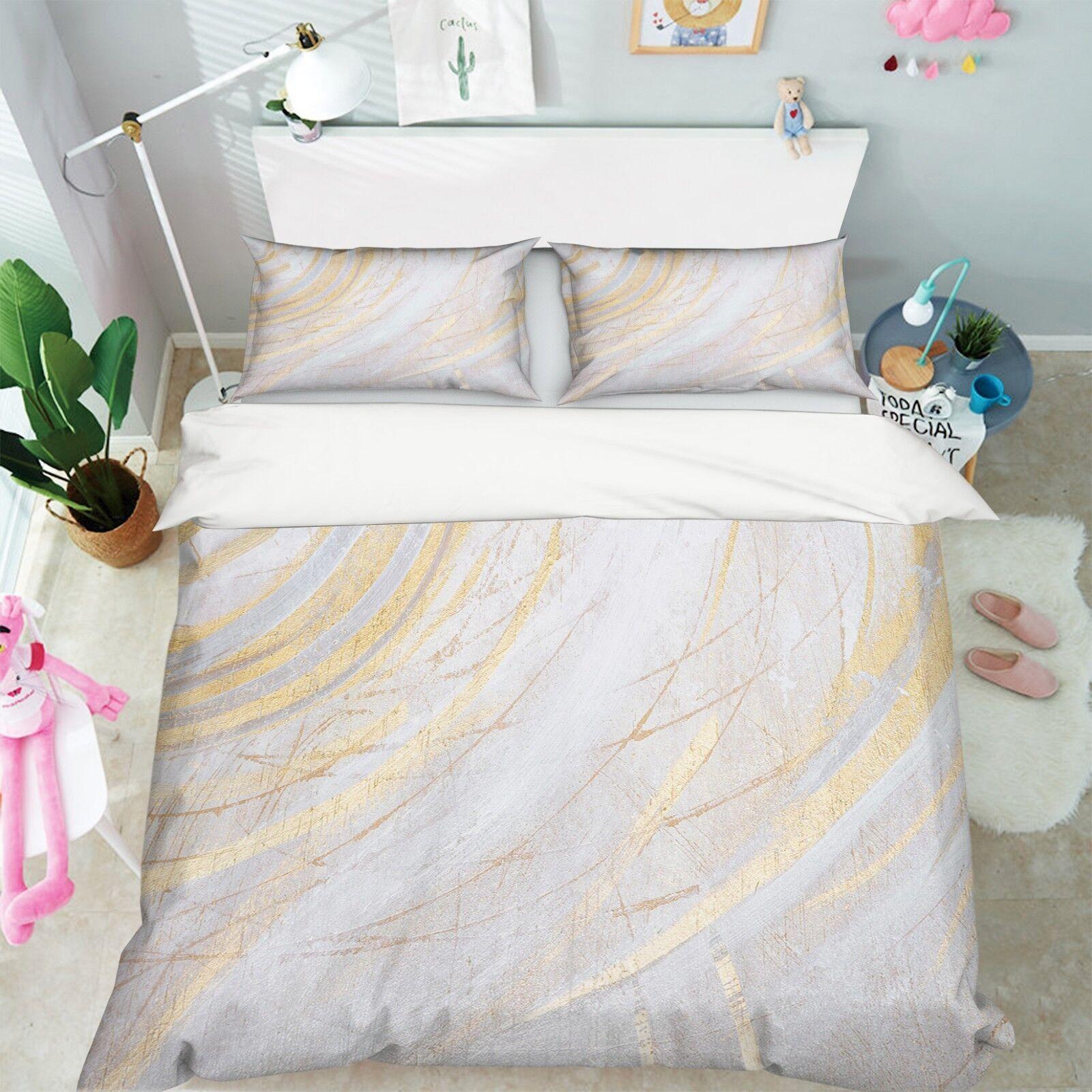 3D Mode Gold Drucken 5 Bett Kissenbezüge steppen Duvet Decken Set Single DE