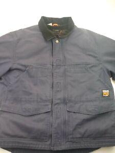 Timberland Pro Series Polartec Men Canvas Fleece Lined Coat Jacket Navy Blue (L)