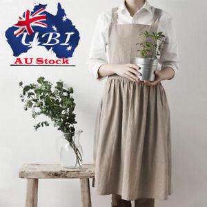 2ae296a24d Image is loading Women-Bib-Apron-Cotton-Linen-Sleeveless-Pinafore-Dress-