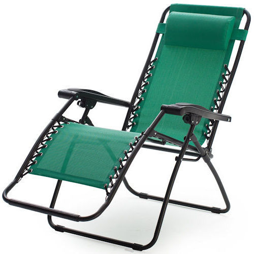 Green Zero Gravity Chair Outdoor Folding Recliner Lawn Patio Pool Camping Beach
