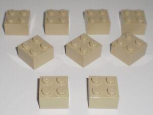 JEU-JOUET-ENFANT-Personnage-LEGO-Lot-9-BRIQUES-2-X-2-BEIGE