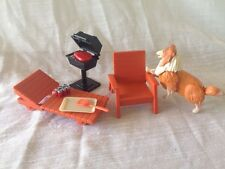 Vintage Fisher Price Dollhouse 77/84 BBQ Grill Collie Dog Beach Lawn Chairs Meat