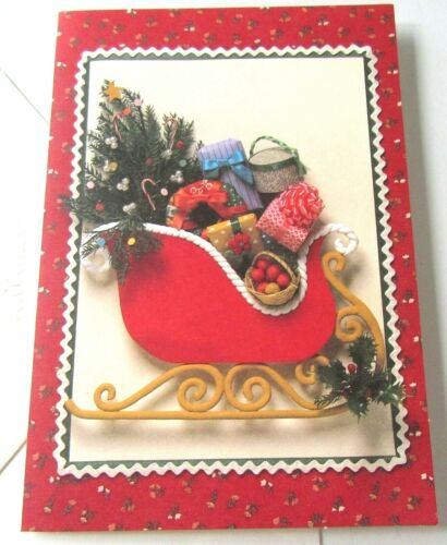 Vintage Christmas Card Hallmark Sleigh Full of Christmas Gifts Tree