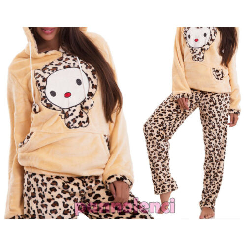 Pigiama donna intimo leopard conigli manica lunga cappuccio pelliccia nuovo C307