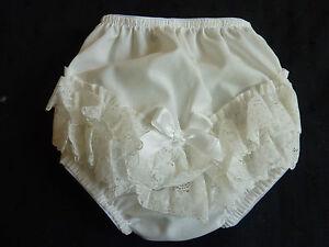 Creme-IVOIRE-COTON-fronce-FILLES-bebe-Pantalons-dentelle-Garniture-0-3m
