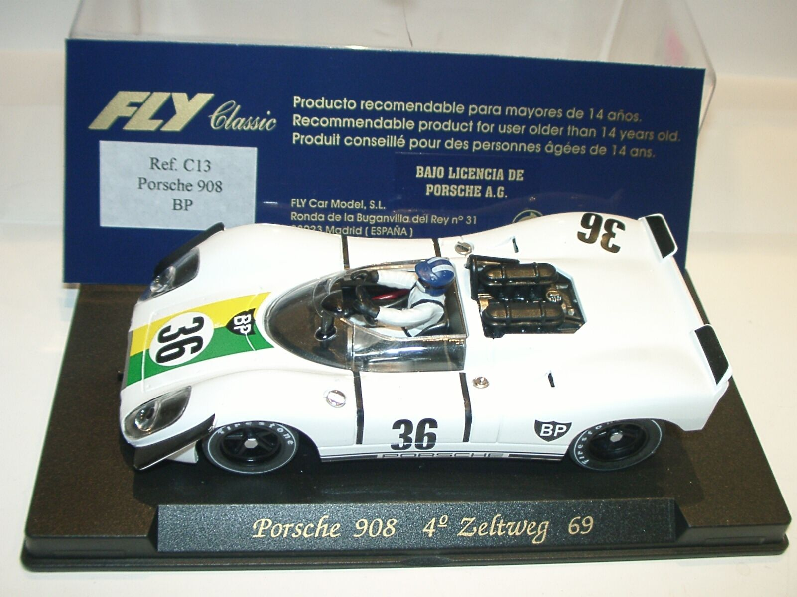 Scus) FLY C13 PORSCHE 908  BP  ZELTWEG 1969 - slot 1 32 scale
