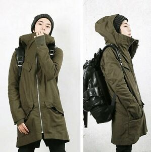 Korean Men's Cotton Hooded Two-Piece Coat Thicken Long Jacket ...