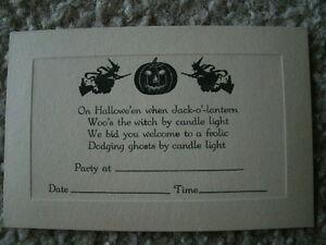 Vtg-Halloween-Invitation-UNUSED-1920-1930-039-s-Witch-Black-Cat-Jack-O-Lantern-A9