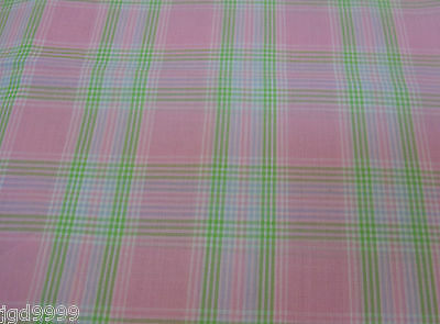 "Cotton Fabric Pink Green Blue & White Plaid 17"" L x 44"" W Quilt Sew Unused"