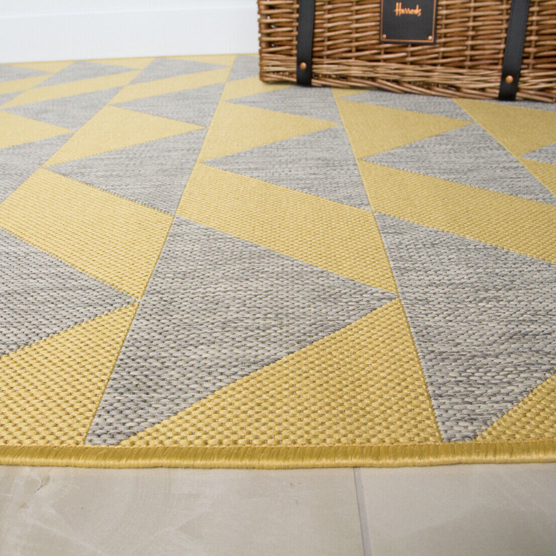 Gelb Ochre Cream Chevron Geometric Flatweave Indoor Indoor Indoor Outdoor Living Room Rug 1337fd