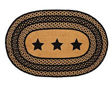 """New Primitive Country Kitchen Oval BRAIDED STAR RUG Black & Tan 20"""" x 30"""""""