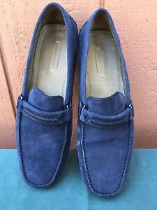 076d3147e48 Men s Massimo Dutti Blue Suede Loafer Slip On Mocassin Driving Shoes ...