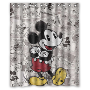 Details About New Disney Mickey Mouse Vintage Custom Waterproof Fabric Shower Curtain Bathroom