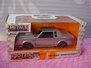 SILVER JADA BIGTIME MUSCLE 1987 BUICK GRAND NATIONAL 1:24 SCALE METAL BLACK