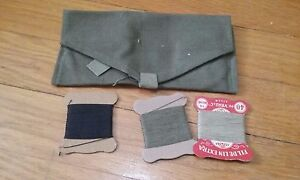Vintage WWII Era French Sewing Kit Green Army Surplus Military Gifts for Men