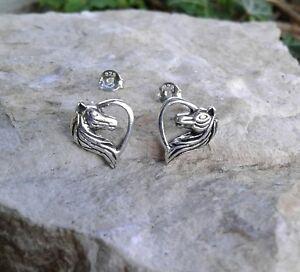 Image Is Loading Horse Earrings Solid Sterling Silver Heart Stud