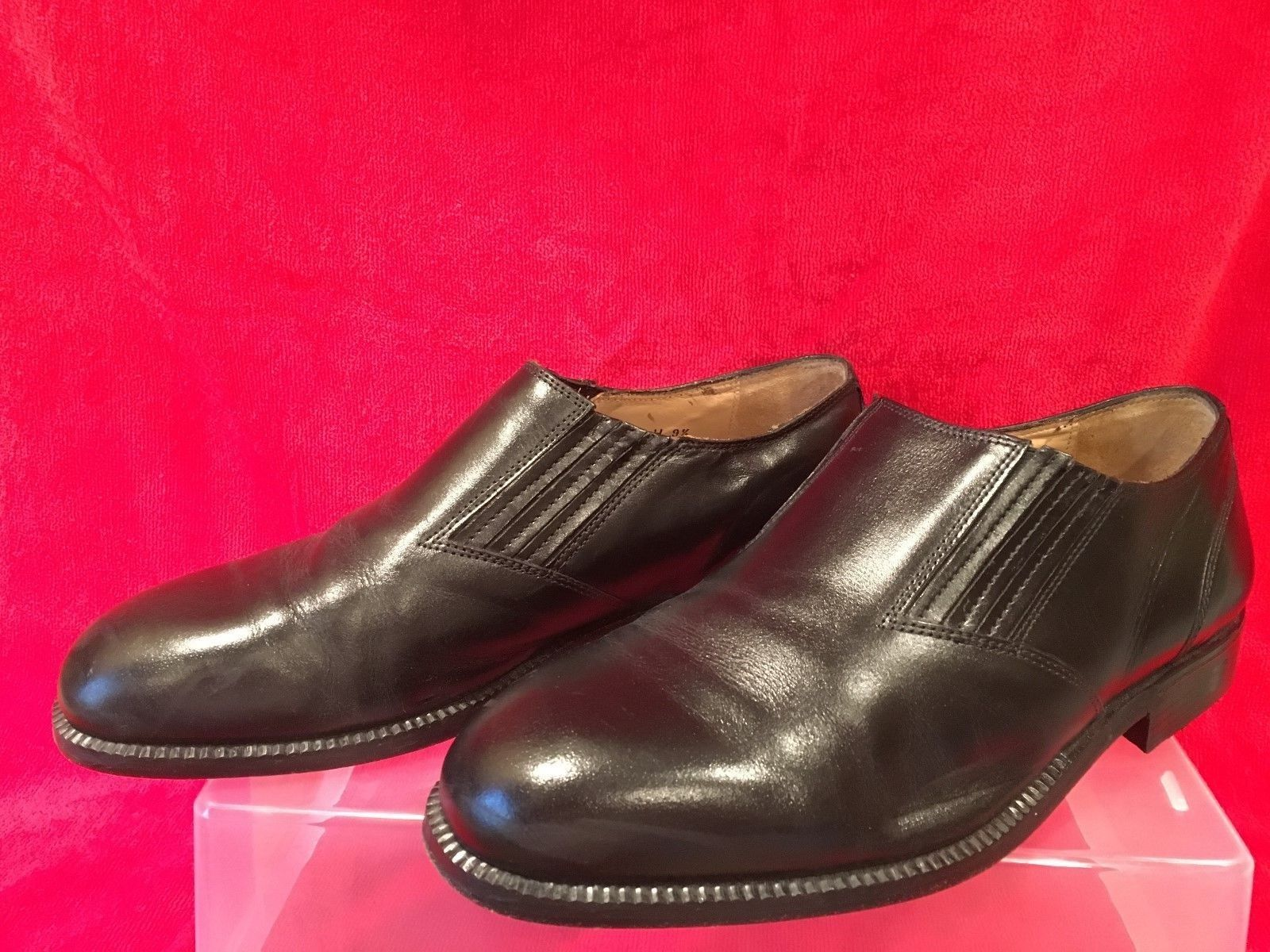 MEN'S STANLEY DRESS BLACKER COUTURE BLACK LEATHER DRESS STANLEY SLIP-ON SHOES SZ 9.5 W  ITALY 390249