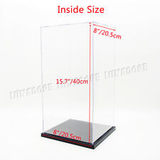 "UK Acrylic Display Box 16"" H Perspex Case Self-Assembly Plastic Base Dustproof"
