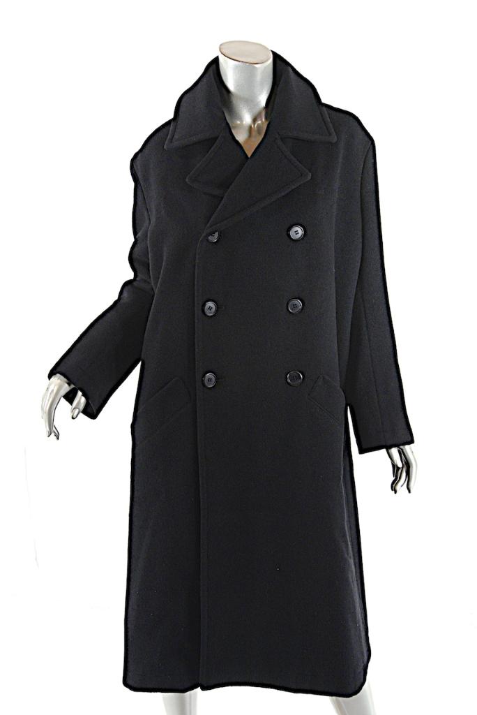 Y & 039;s Yohji Yamamoto mezcla  de nylon Negro de Lana Doble Abotonadura relajado Abrigo talla 2  tienda de venta en línea