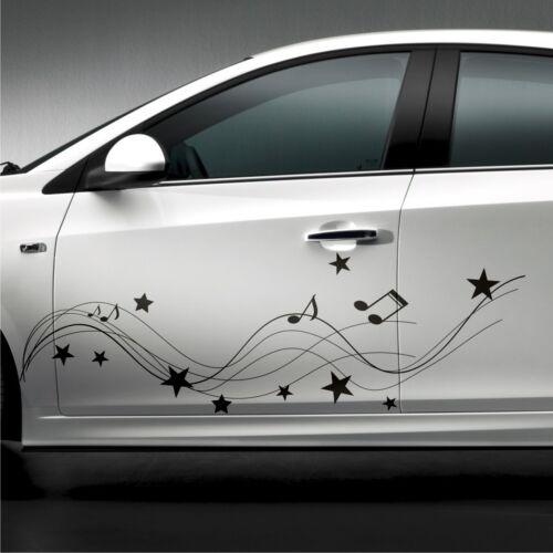 2x étoiles 160 cm notes de musique pages autocollants STARS Voiture Autocollant SET TUNING s30