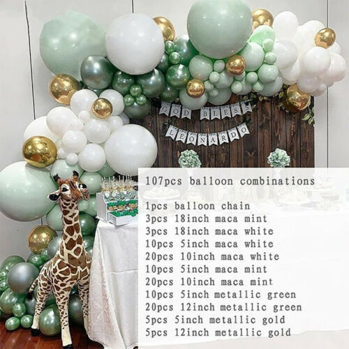 107PCS Green Balloon Arch Set Birthday Wedding Baby Shower Garland Ballon Kit