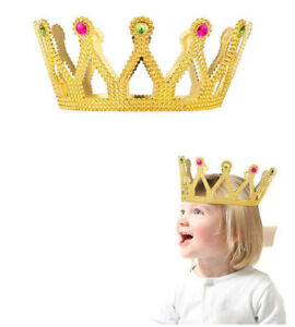 4 Crowns Plastic Royal King Queen Princess Tiara Jeweled Hat Baby Shower Party