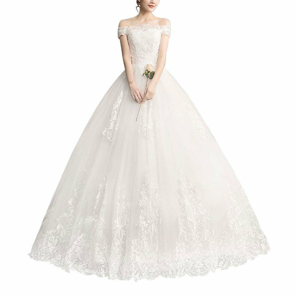 Luxury Lace Embroidery Wedding Dresses Plus size Elegant Bridal Dresses US10-24W